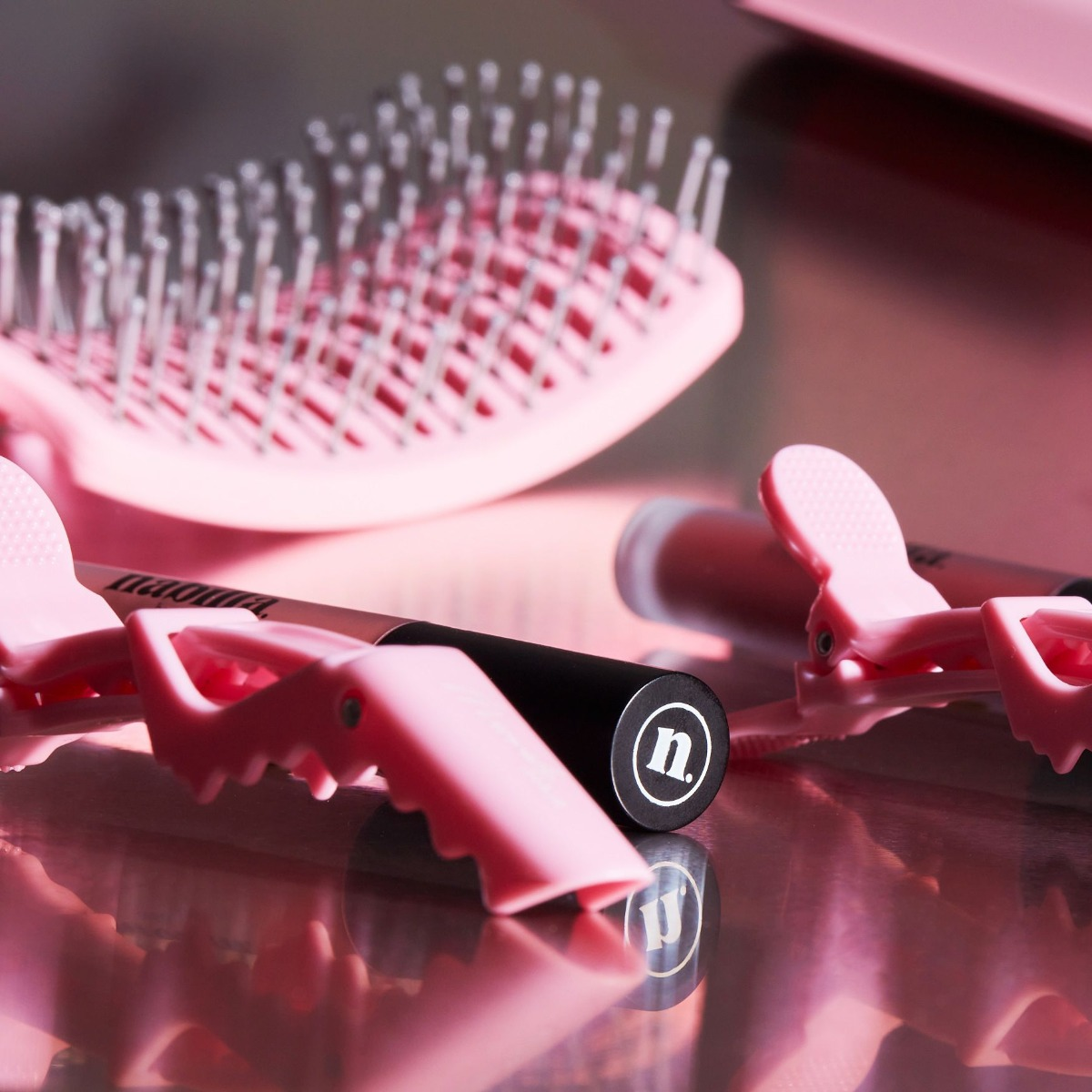 2 lipsticks of your choice + 1 brush + clips